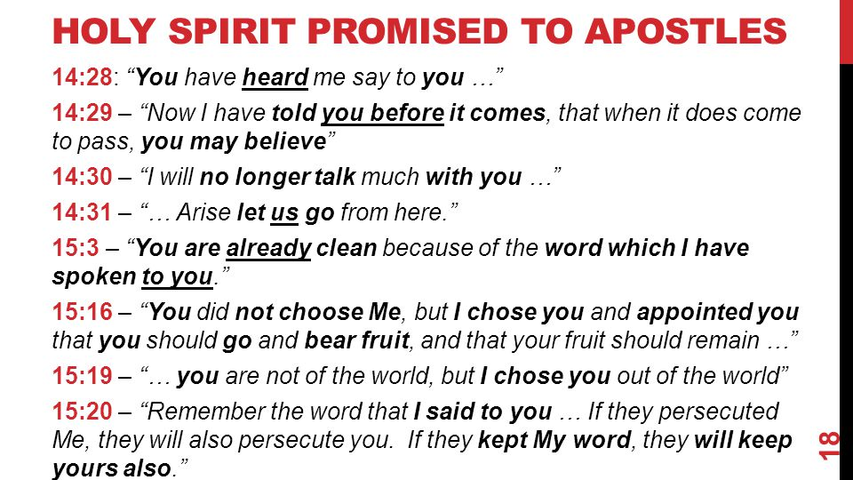 "HOLY SPIRIT PROMISED TO APOSTLES 14:28: ""You have heard me say to you …"" 14:29 – ""Now I have told you before it comes, that when it does come to pass,"