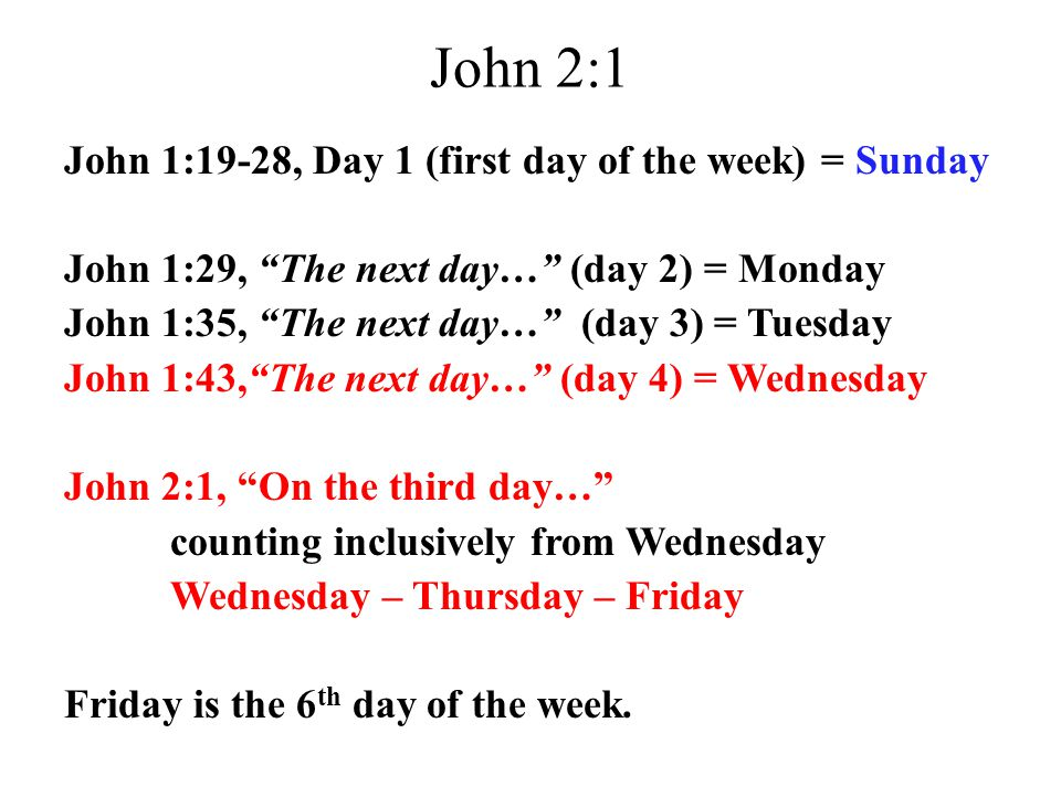 "John 2:1 John 1:19-28, Day 1 (first day of the week) = Sunday John 1:29, ""The next day…"" (day 2) = Monday John 1:35, ""The next day…"" (day 3) = Tuesday"