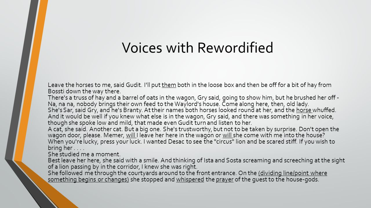 Voices with Rewordified Leave the horses to me, said Gudit. I'll put them both in the loose box and then be off for a bit of hay from Bossti down the