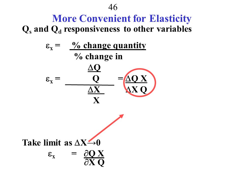 45 Sum Up Elasticity = Responsiveness to Price  x = % change quantity % change in X Q could be quantity demanded Q could be quantity supplied X could be Price X could be income X could be the price of a substitute (cross price elasticity) X could be any other variable that influences Q Q likely more responsive in long run than short run