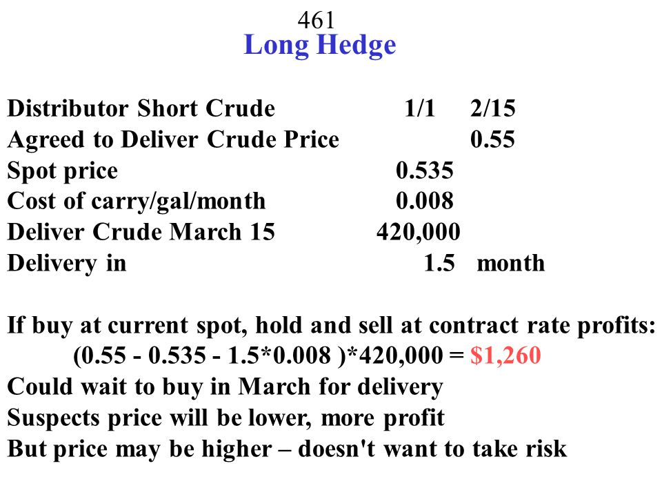 460 Short with Zero Basis Risk Suppose Futures price is for Dec.