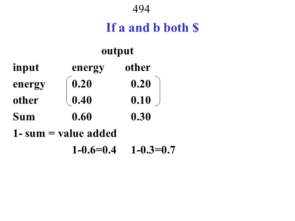 493 Last Time Units Sector output input energy (a) other (b) energy (a)0.200.20 other (b) 0.300.10 a/a a/b b/a b/b a BTU b tons outputs = BTU and tons