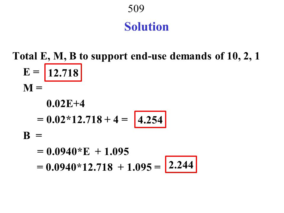508 Solve Solve 2 equations with 2 unknowns 0.95 B - 0.0902E = 1.04(1) -0.20B + 0.8486E = 10.28(2) From eq.