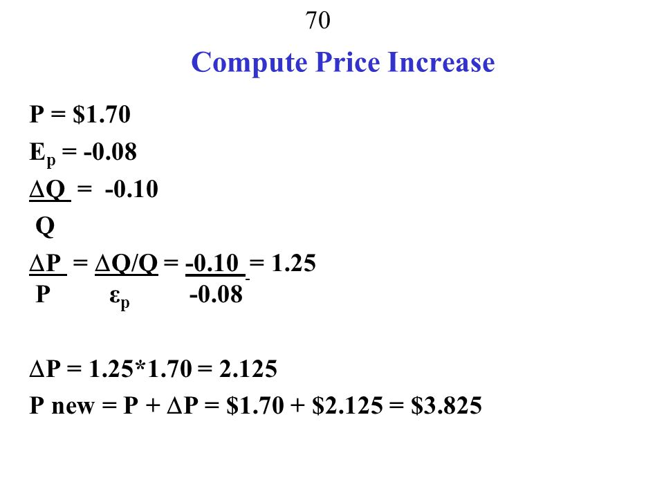 69 Compute Price Increase P = $2.50 E p = -0.08  Q = -0.10 spread over 8 weeks = -0.0125 Q  P =  Q/Q = -0.0125 = 0.208 P ε p -0.08  P = 0.208*2.5 = 0.521 P new = P +  P = $2.50 + $0.521 = $3.021
