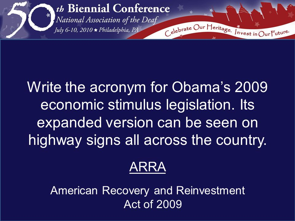 ARRA American Recovery and Reinvestment Act of 2009