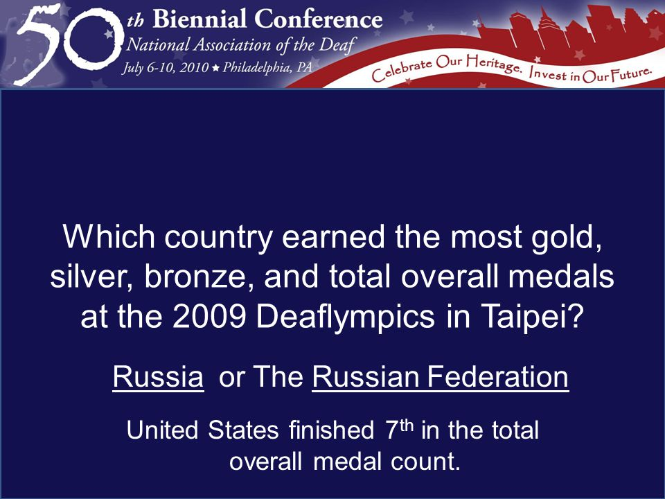 Russia or The Russian Federation United States finished 7 th in the total overall medal count.