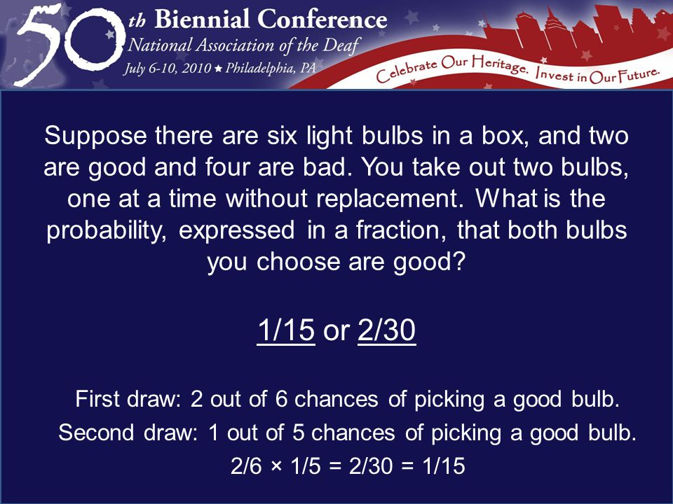 1/15 or 2/30 First draw: 2 out of 6 chances of picking a good bulb.