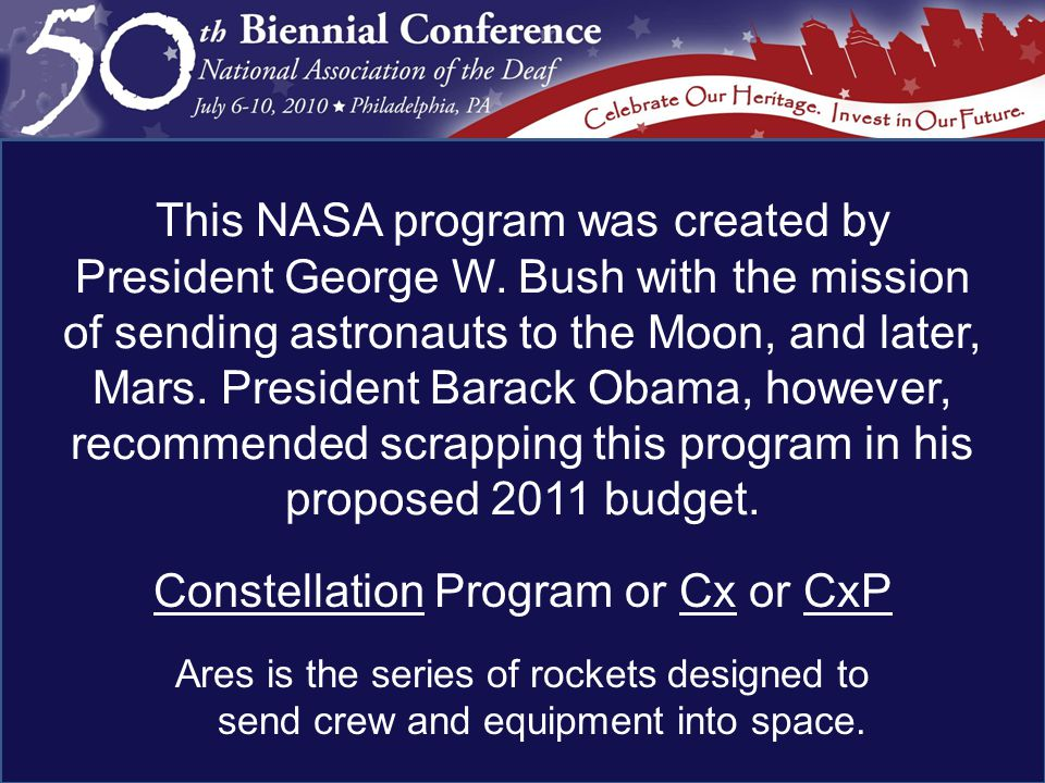 Constellation Program or Cx or CxP Ares is the series of rockets designed to send crew and equipment into space.
