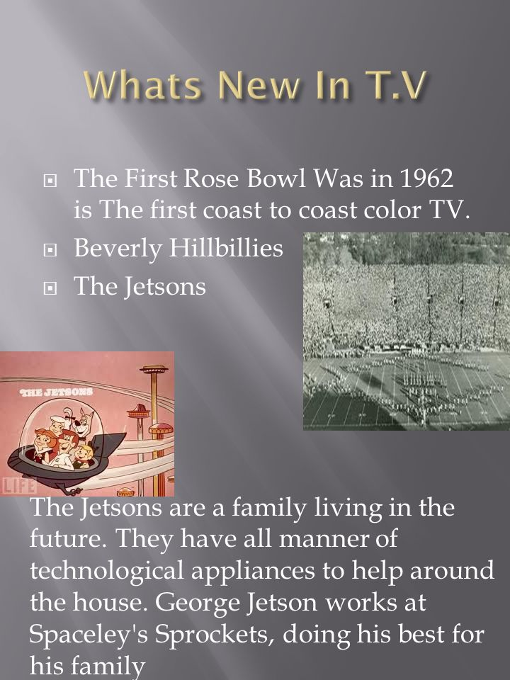  The First Rose Bowl Was in 1962 is The first coast to coast color TV.