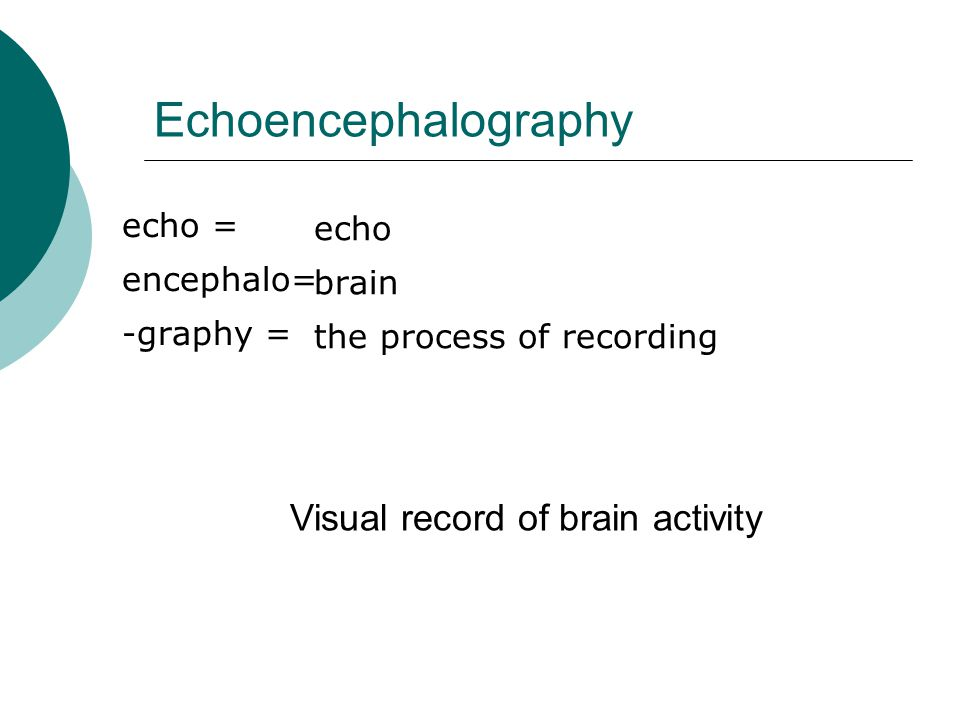 Echoencephalography echo = encephalo= -graphy = echo brain the process of recording Visual record of brain activity
