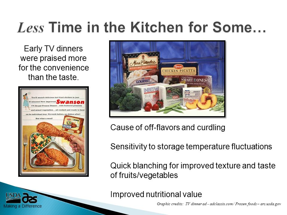 Making a Difference Early TV dinners were praised more for the convenience than the taste.