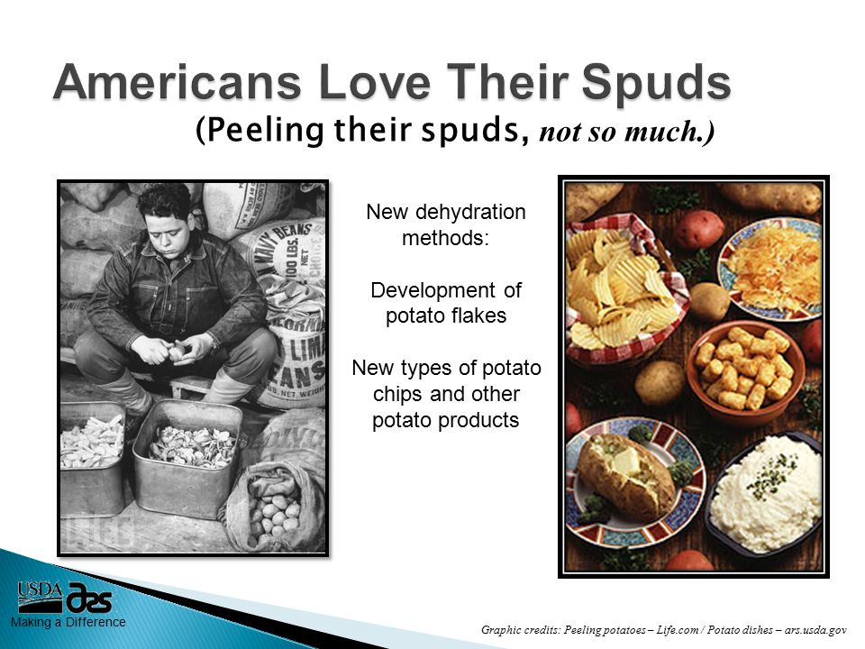 Making a Difference (Peeling their spuds, not so much.) New dehydration methods: Development of potato flakes New types of potato chips and other potato products Graphic credits: Peeling potatoes – Life.com / Potato dishes – ars.usda.gov
