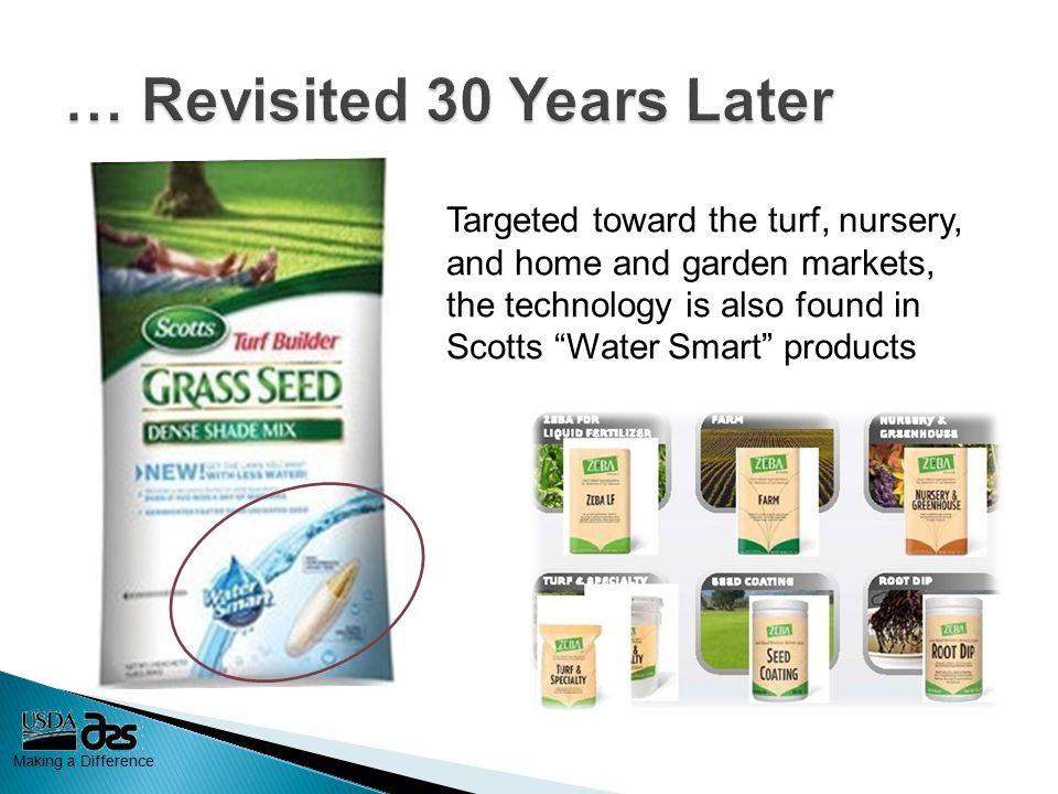 Making a Difference Targeted toward the turf, nursery, and home and garden markets, the technology is also found in Scotts Water Smart products