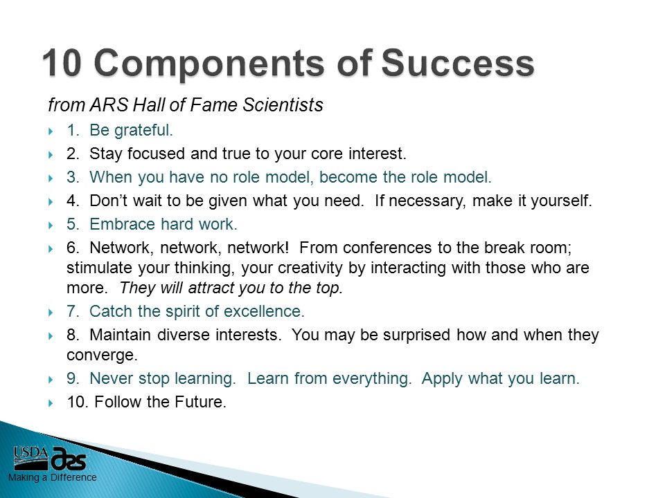 Making a Difference from ARS Hall of Fame Scientists  1.