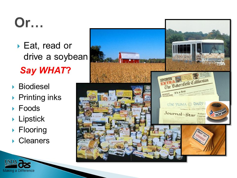 Making a Difference  Eat, read or drive a soybean Say WHAT.
