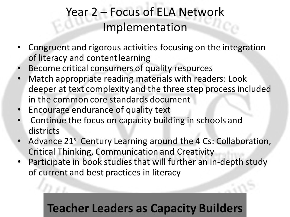 Year 2 – Focus of ELA Network Implementation Congruent and rigorous activities focusing on the integration of literacy and content learning Become critical consumers of quality resources Match appropriate reading materials with readers: Look deeper at text complexity and the three step process included in the common core standards document Encourage endurance of quality text Continue the focus on capacity building in schools and districts Advance 21 st Century Learning around the 4 Cs: Collaboration, Critical Thinking, Communication and Creativity Participate in book studies that will further an in-depth study of current and best practices in literacy Teacher Leaders as Capacity Builders