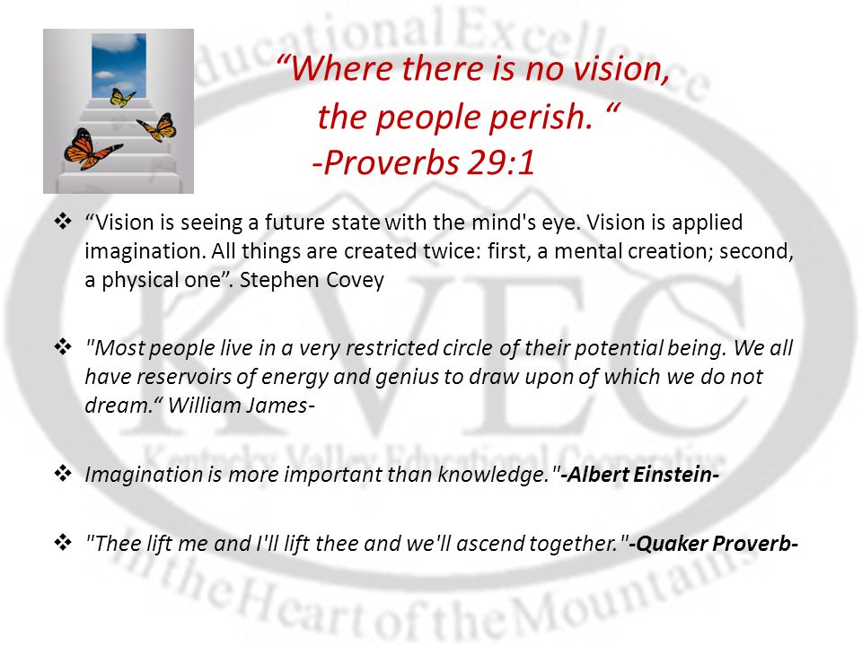 """""""Where there is no vision, the people perish. """" -Proverbs 29:1  """"Vision is seeing a future state with the mind's eye. Vision is applied imagination."""