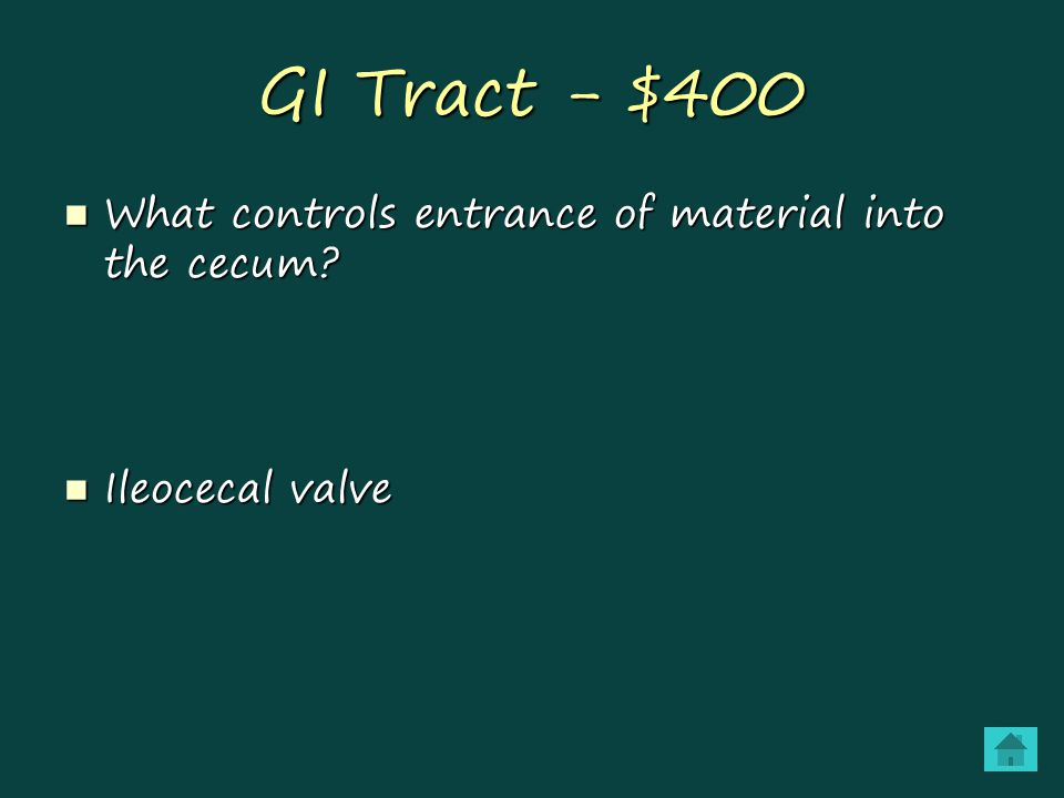 GI Tract - $400 What controls entrance of material into the cecum.