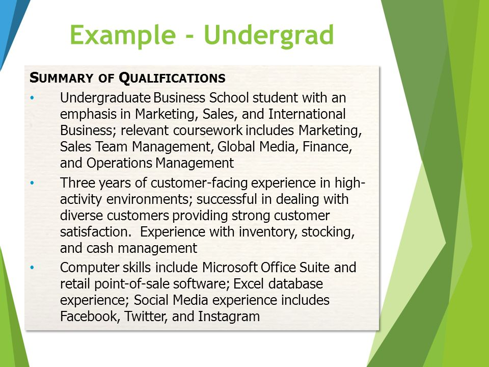 Example - Undergrad S UMMARY OF Q UALIFICATIONS Undergraduate Business School student with an emphasis in Marketing, Sales, and International Business