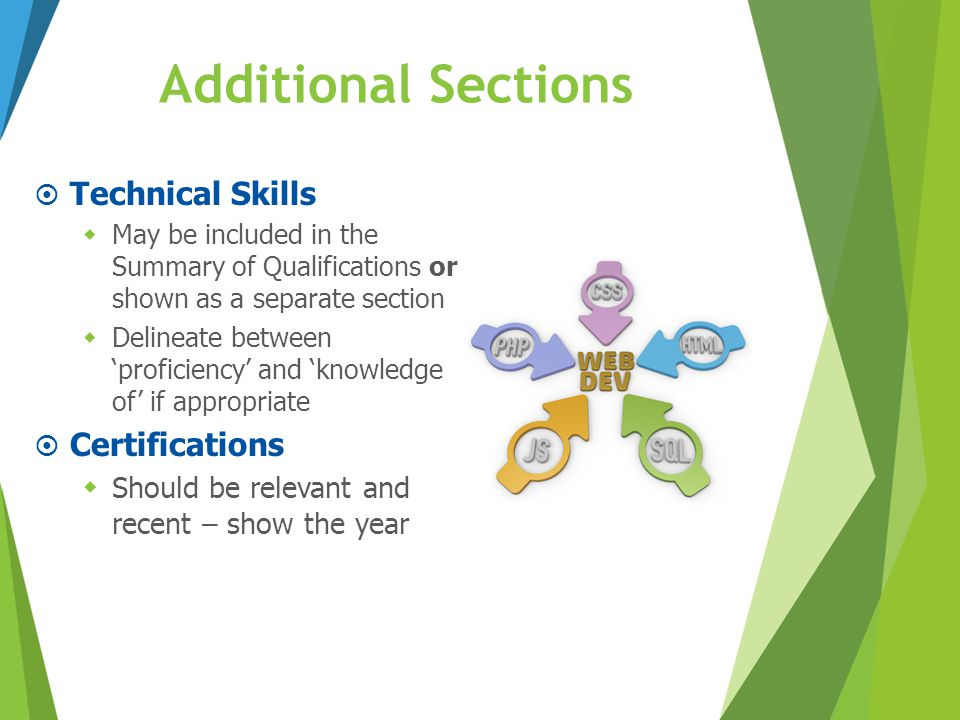 Additional Sections  Technical Skills  May be included in the Summary of Qualifications or shown as a separate section  Delineate between 'proficie
