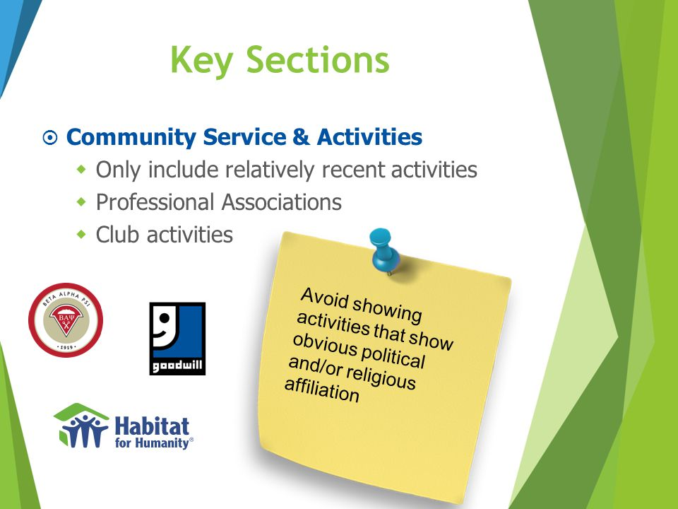 Key Sections  Community Service & Activities  Only include relatively recent activities  Professional Associations  Club activities Avoid showing