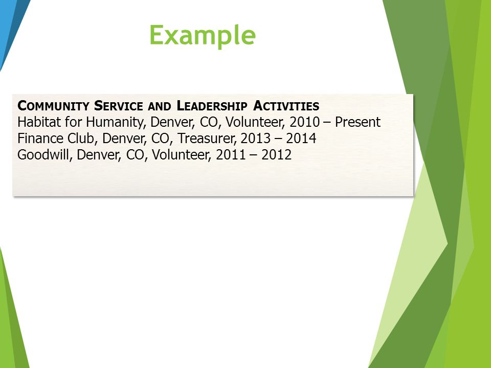 Example C OMMUNITY S ERVICE AND L EADERSHIP A CTIVITIES Habitat for Humanity, Denver, CO, Volunteer, 2010 – Present Finance Club, Denver, CO, Treasure