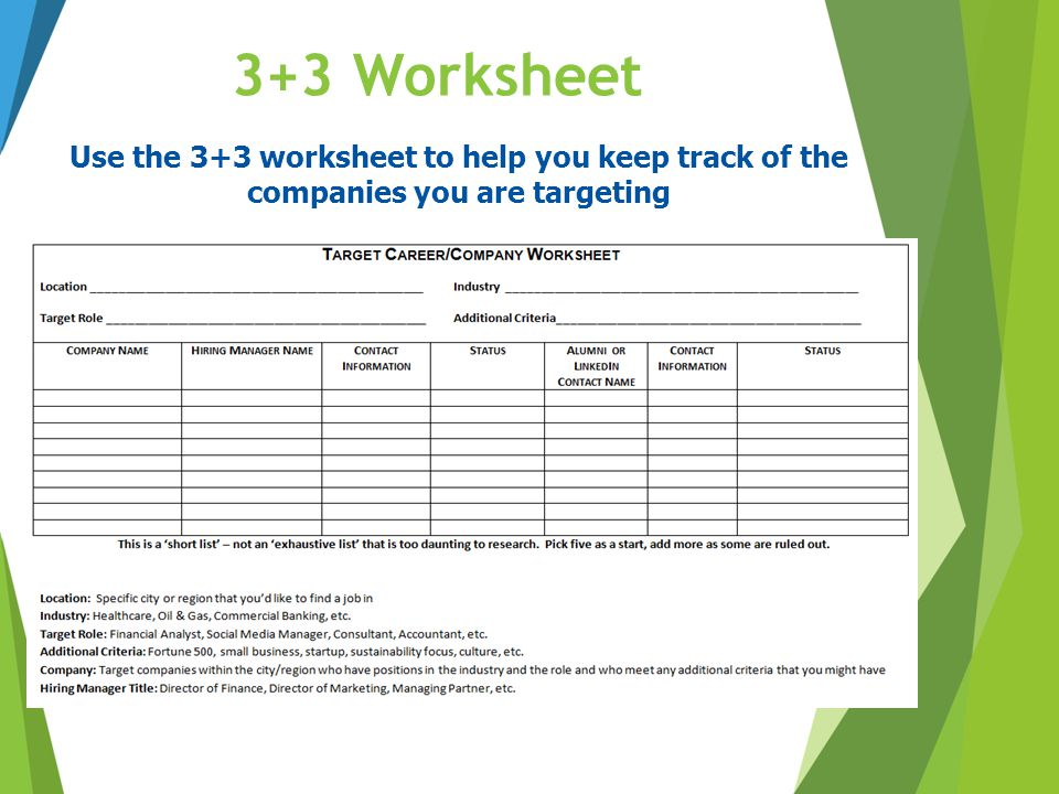 3+3 Worksheet Use the 3+3 worksheet to help you keep track of the companies you are targeting