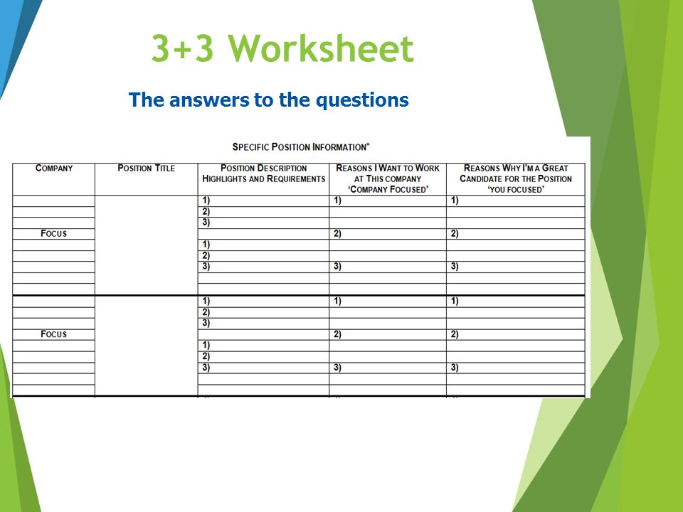 3+3 Worksheet The answers to the questions