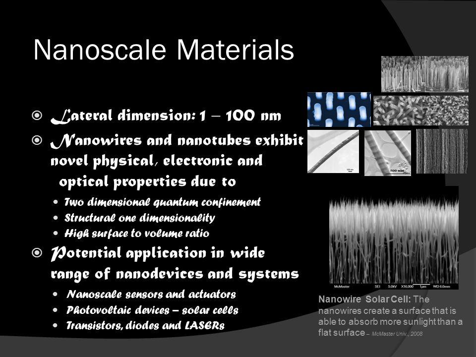 Nanoscale Materials Nanowires and Nanotubes  Lateral dimension: 1 – 100 nm  Nanowires and nanotubes exhibit novel physical, electronic and optical p