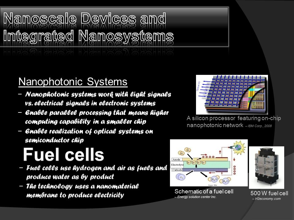 Nanophotonic Systems A silicon processor featuring on-chip nanophotonic network – IBM Corp., 2008 − Nanophotonic systems work with light signals vs. e