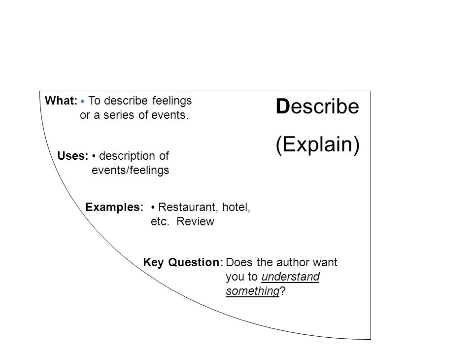 Describe (Explain) What: To describe feelings or a series of events.