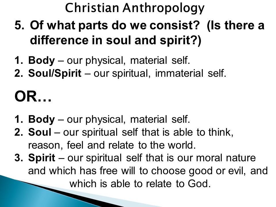 Christian Anthropology 5.Of what parts do we consist.