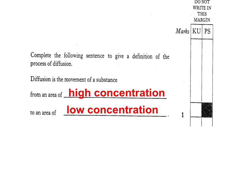 high concentration low concentration