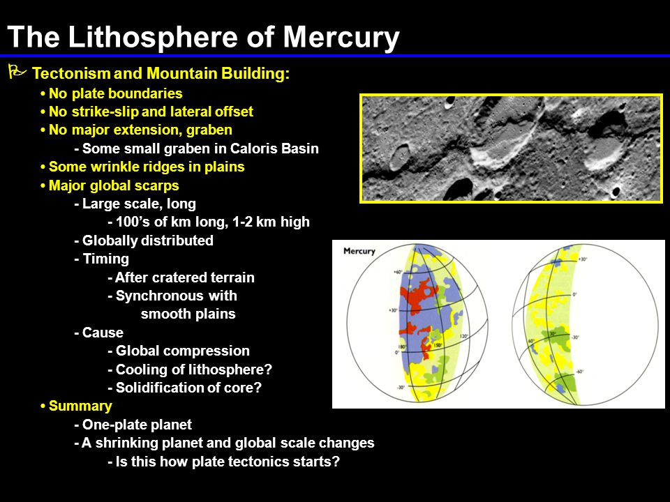 The Lithosphere of Mercury  Tectonism and Mountain Building: No plate boundaries No strike-slip and lateral offset No major extension, graben - Some small graben in Caloris Basin Some wrinkle ridges in plains Major global scarps - Large scale, long - 100's of km long, 1-2 km high - Globally distributed - Timing - After cratered terrain - Synchronous with smooth plains - Cause - Global compression - Cooling of lithosphere.