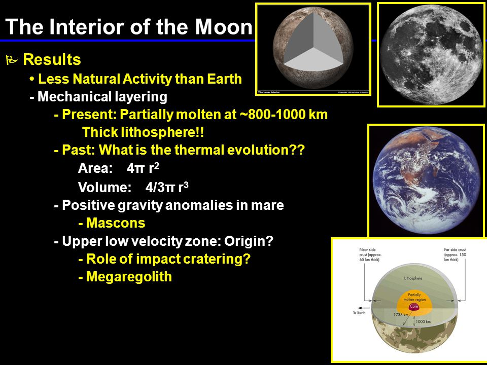 The Interior of the Moon  Results Less Natural Activity than Earth - Mechanical layering - Present: Partially molten at ~800-1000 km Thick lithosphere!.