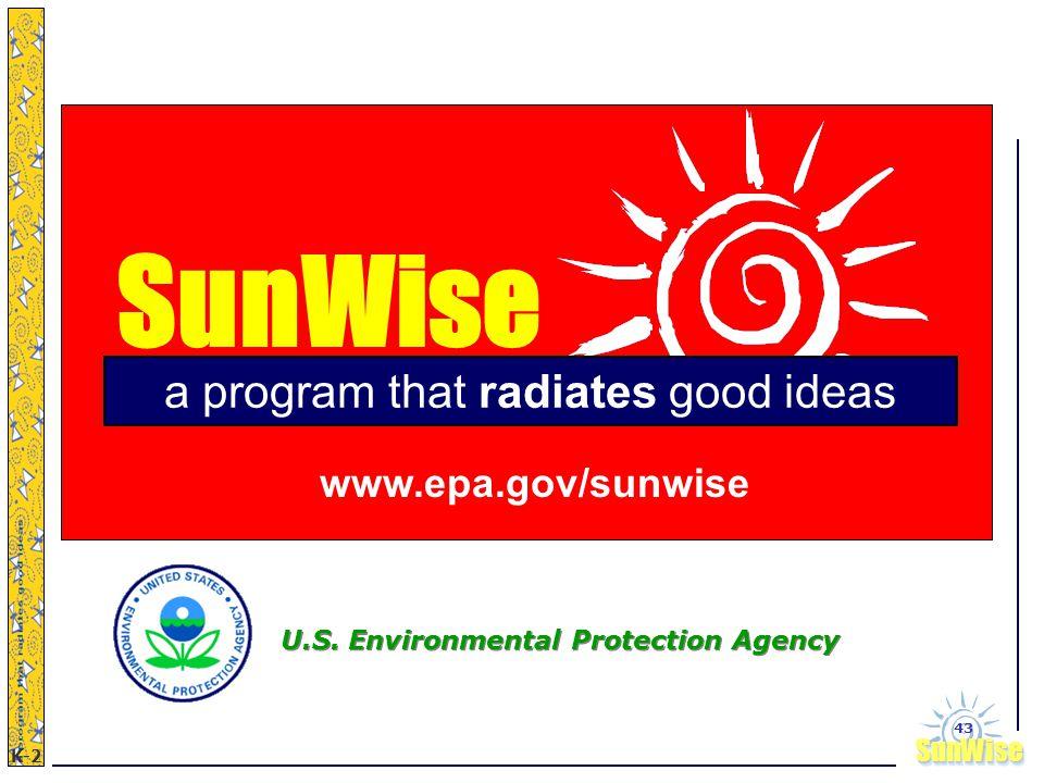 SunWiseSunWise JA K-2 43 SunWise www.epa.gov/sunwise U.S. Environmental Protection Agency a program that radiates good ideas