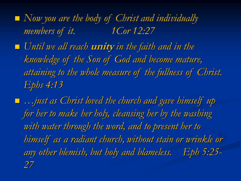 Now you are the body of Christ and individually members of it.1Cor 12:27 Until we all reach unity in the faith and in the knowledge of the Son of God and become mature, attaining to the whole measure of the fullness of Christ.