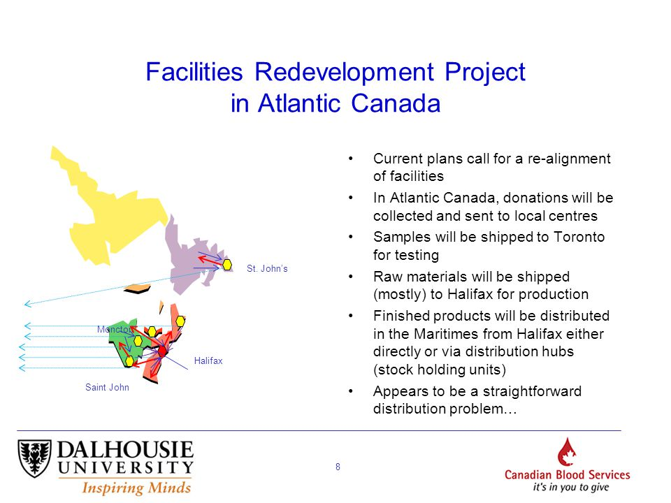 8 Facilities Redevelopment Project in Atlantic Canada Current plans call for a re-alignment of facilities In Atlantic Canada, donations will be collected and sent to local centres Samples will be shipped to Toronto for testing Raw materials will be shipped (mostly) to Halifax for production Finished products will be distributed in the Maritimes from Halifax either directly or via distribution hubs (stock holding units) Appears to be a straightforward distribution problem… Halifax St.