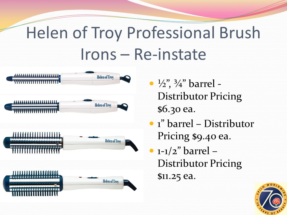 Helen of Troy Professional Brush Irons – Re-instate ½ , ¾ barrel - Distributor Pricing $6.30 ea.