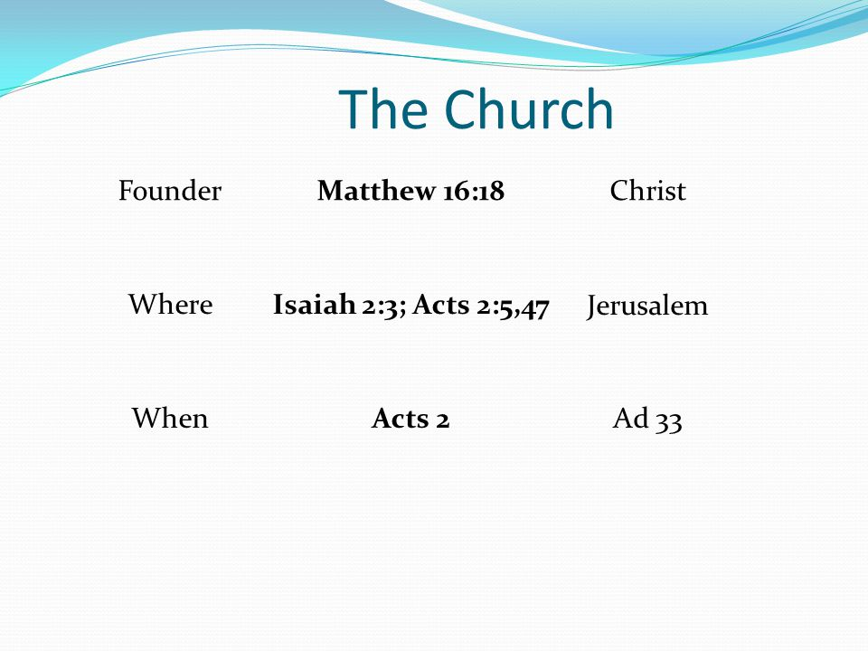 The Church FounderMatthew 16:18Christ WhereIsaiah 2:3; Acts 2:5,47Jerusalem WhenActs 2Ad 33