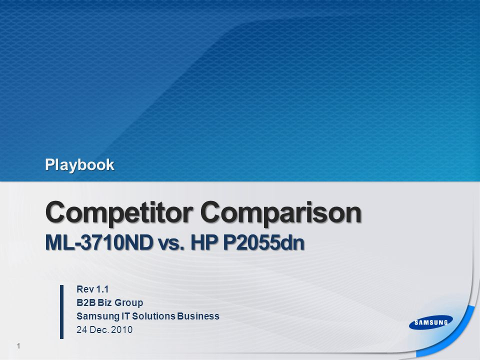 Competitor Comparison ML-3710ND vs.