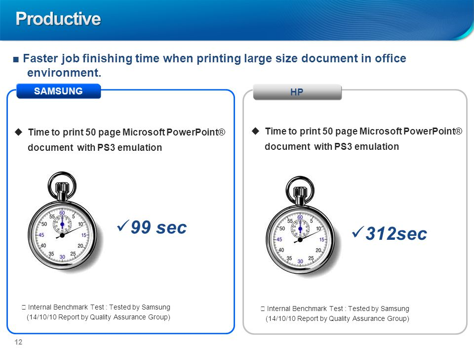 SAMSUNG HP 99 sec 312sec  Time to print 50 page Microsoft PowerPoint® document with PS3 emulation ■ Faster job finishing time when printing large size document in office environment.