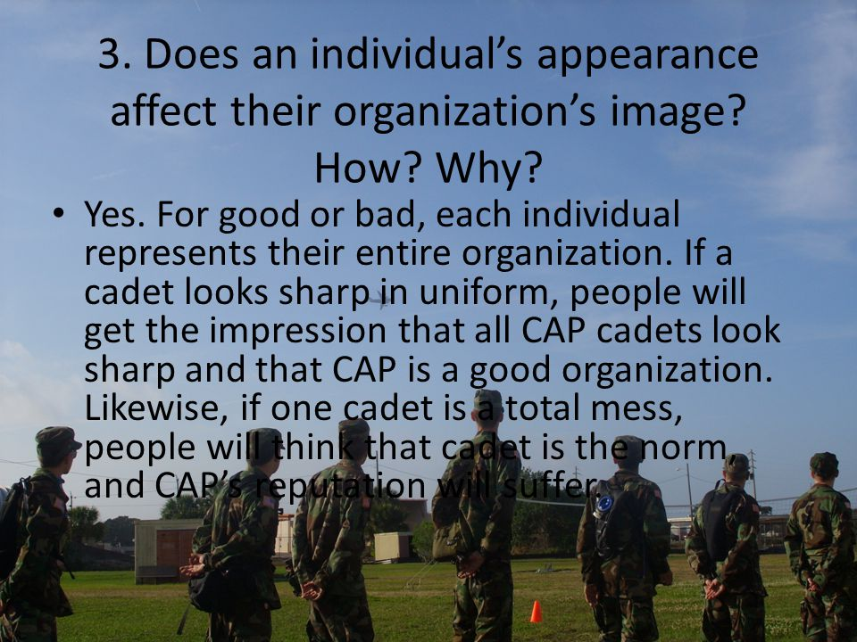 3. Does an individual's appearance affect their organization's image.
