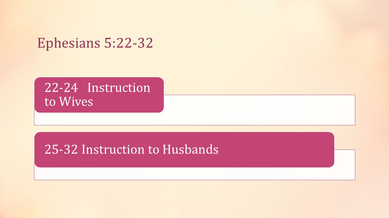 22-24 Instruction to Wives 25-32 Instruction to Husbands Ephesians 5:22-32