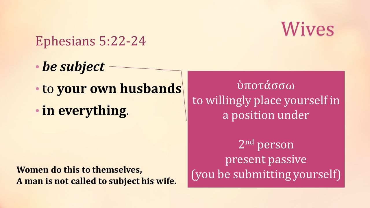 Ephesians 5:22-24 be subject to your own husbands in everything.