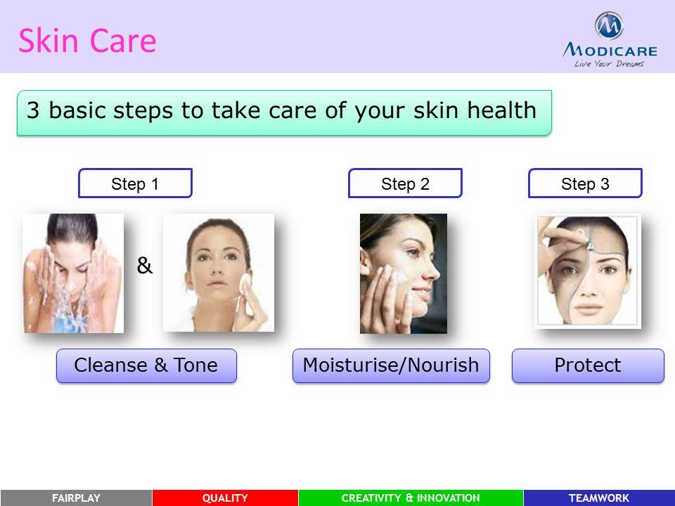 FAIRPLAYQUALITYCREATIVITY & INNOVATIONTEAMWORK Skin Care 3 basic steps to take care of your skin health Step 1 & Cleanse & Tone Step 2Step 3 Moisturis