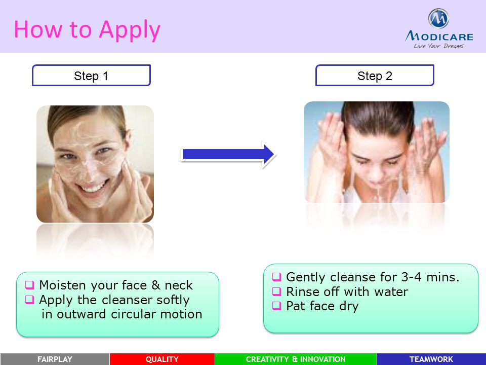 FAIRPLAYQUALITYCREATIVITY & INNOVATIONTEAMWORK How to Apply Step 1  Moisten your face & neck  Apply the cleanser softly in outward circular motion 