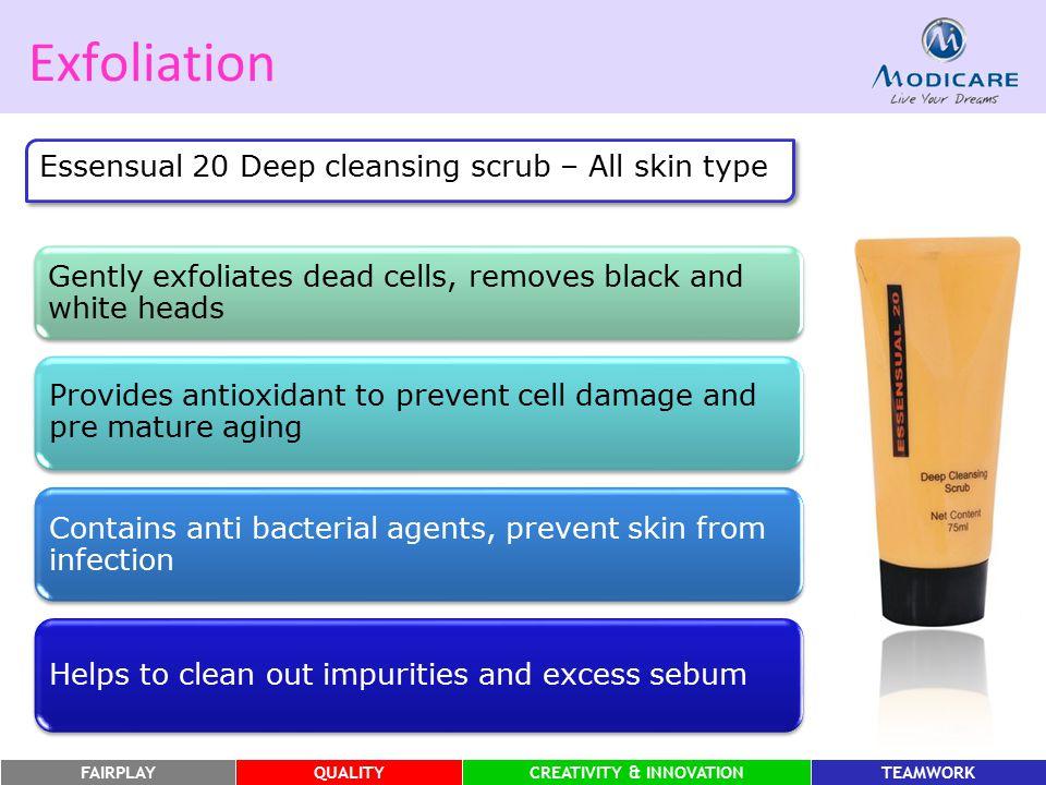 FAIRPLAYQUALITYCREATIVITY & INNOVATIONTEAMWORK Exfoliation Essensual 20 Deep cleansing scrub – All skin type Gently exfoliates dead cells, removes bla