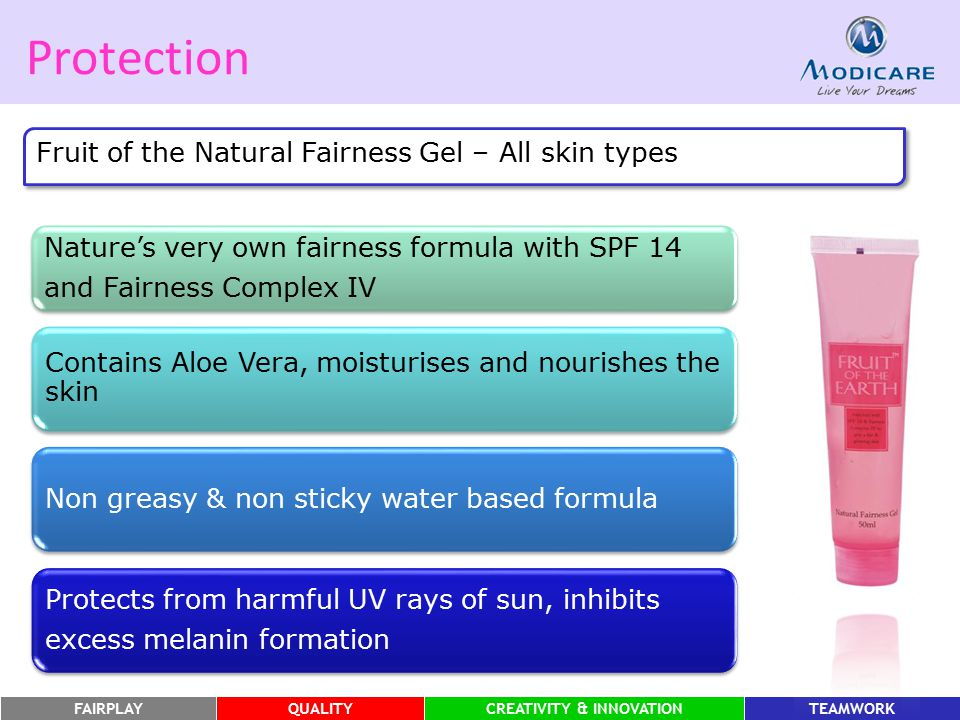 FAIRPLAYQUALITYCREATIVITY & INNOVATIONTEAMWORK Protection Fruit of the Natural Fairness Gel – All skin types Nature's very own fairness formula with S