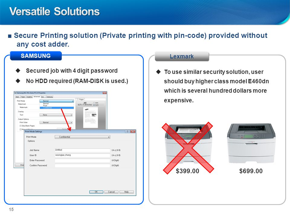 SAMSUNG Lexmark ■ Secure Printing solution (Private printing with pin-code) provided without any cost adder.